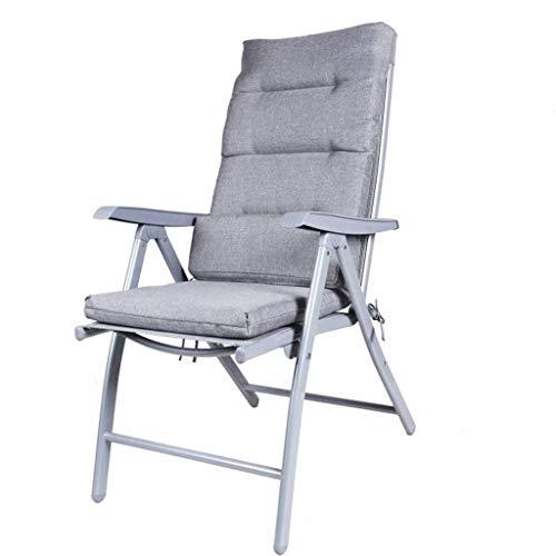 Zfggd Sillas reclinables Plegables Sillas de jardín Sillas reclinables para tumbonas de Playa Sillas a Prueba de Intemperie Textoline Plegable (Color : Gray Plus Light Gray, Size : 69 * 60 * 110cm)