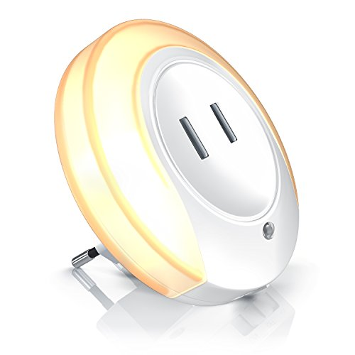 Bearware - Luz nocturna LED con 2 USB para cargar - Fuente de alimentación USB de 2 puertos con luz de orientación de 220V - Sensor crepuscular integr. - Adecuado para cargar cualquier dispositivo USB