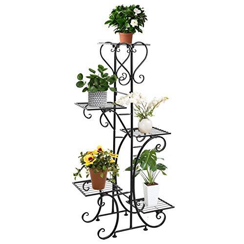 Metal Flower Holder Pot Stand 5 Tier Garden Decoration Display 5 Layer Planter,Floor-Standing Multilayer Shelf Rack for Plants in Patio Balcony Garden Living Room