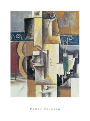 Pablo Picasso Violine und Gitarre Poster Kunstdruck