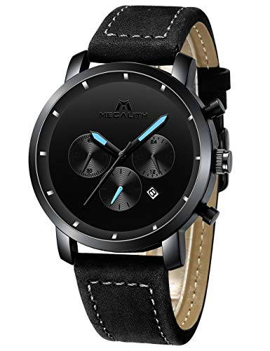 MEGALITH Herren Uhren Männer Militär Schwarz Wasserdicht Chronograph Armbanduhr Mann Mode Datum Kalender Analoge Quarz Uhr