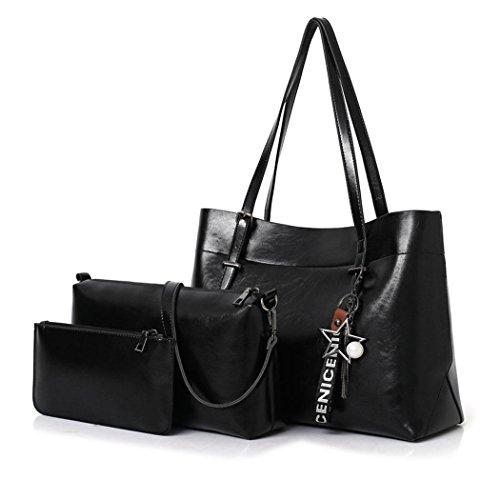 DEERWORD Damen Handtaschen Schultertaschen Umhängetaschen PU-Leder Bowlingtaschen 3er Set Schwarz