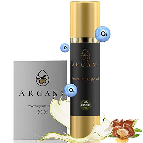 Argan3 BIO Argan-Öl mit aktivem Sauerstoff (Ozon) für innovative Hautpflege, Anti-Aging, Feuchtigkeitspflege für Haut & Haare, stärkt von innen heraus, 100{0188cb8dbd95f2e74891f429619ff408c7f172fc9d95ef98d5cb92294933581e} Naturkosmetik, 100ml