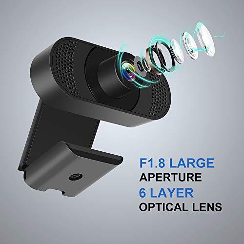 Kaulery Webcam con micrófono con cancelación de Ruido, cámara Web PC HD 1080P, cámara Web USB Plug and Play para transmisión, videollamadas, Estudio en línea, Conferencia, grabación, Juegos miniatura