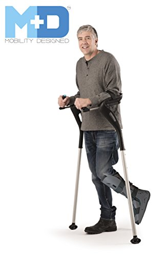 "Forearm Crutches, 1 Left Hands-Free Crutch Cane with Ergonomic Design - Single Walking Support Crutch, Adult Fit (4'11""- 6'8"") Adjustable Crutches, Mobility Support Injury/Disability/Elderly (Black)"