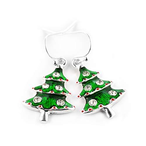 SCHMUCKZUCKER Damen Ohrhänger Weihnachtsbaum Modeschmuck Ohrringe Weihnachten Glitzer Grün Silber
