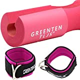 Greententljs Barbell Squat Neck Rack Cushion Foam Shoulder Pad and Ankle Strap Fitness Padded Cable Attachment Squat Pads for Gym Weight Lifting Hip Glute Exercises