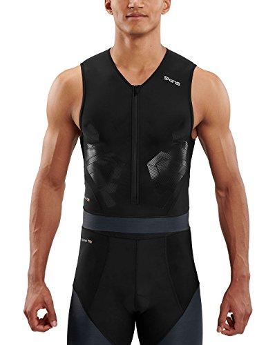 SKINS DNAmic Triathlon Homme S/L Top Noir/Carbon L Sleeveless, FR : L (Taille Fabricant : L)
