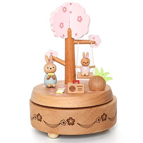 Gaoominy Rosado Caja de MúSica de Conejito de Flor de Cerezo Caja de MúSica de Regalo de CumpleaaOs para Estudiantes
