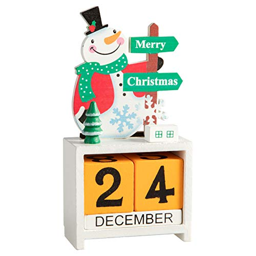 MerryHeart Christmas Countdown Advent Calendar, Wooden Block Table Numbers, Countdown to Christmas, Tabletop Desk Calendar, Handmade for Home Decoration (Green)