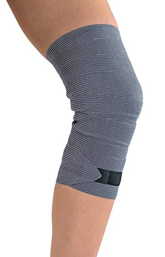 TOROS-GROUP Medizinischer elastischer Verband mit Textilverschluss 2 PACK Grau 1,5m*8cm