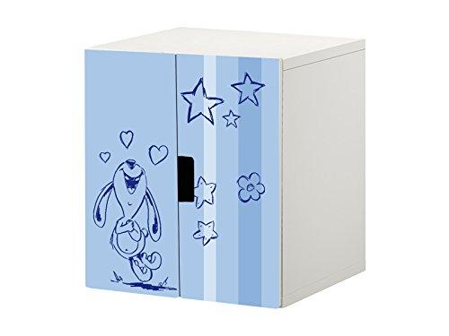 Knuddelwelt blå möbelfolie/dekal – STK18 – lämplig för barnkammarens byrå/skåp med 2 dörrar STUVA från IKEA – består av 2 matchande möbelfolie (Korpus 60 x 64 cm) möbler ingår ej