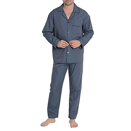 El Búho Nocturno - Pijama Hombre Largo Solapa Popelín Rayas Premium The Gentlemen's Choice Verde Botella 100% algodón Talla 5 (XL)
