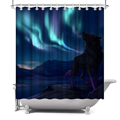 ArtBones Northern Lights Landscape Wolf Shower Curtain with Hooks 72x72 Inch Waterproof Polyester Fabric