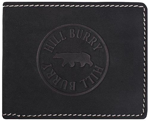 Hill Burry Cartera de Cuero para Hombre | Billetera - Monedero de Cuero Genuino de Búfalo | Hombres - Mujeres Bolsillo Horizontal | RFID (Negro)