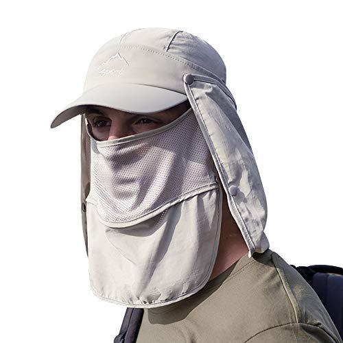 ANUFER Unisexo Adultos Respirable Pescar Gorra de Beisbol Multifuncional Secado Rápido Sombrero para el Sol Al Aire Libre Gorra de Legionario