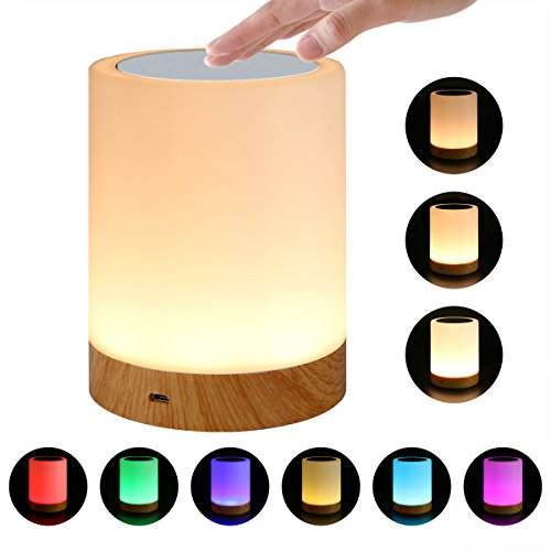 Kleurrijke Night Light New Wood Grain oplaadbare Night Light bedlampje Table Lamp Touch Lamp