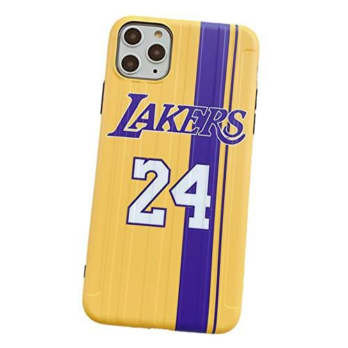 Kobe Fundas para teléfono iPhone 7/8, 7/8Plus, X/XS, XR, XS Max, 11, 11Pro, 11Pro Max, Lakers 24# Jersey Ultra Protección, anti-arañazos, funda protectora para teléfono 7/8 Plus
