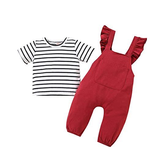 Camiseta de Manga Corta a Rayas para bebés y niñas + Mono...