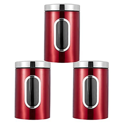 Vorratsdose, 3 Stück Vorratsdose Lebensmittel Aufbewahrungsbehälter Edelstahl Vorratsbehälter mit Deckel und Transparentem Sichtfenster für Tee, Getreide, Trockenfrüchten, Tiernahrung 1.5L (Rot