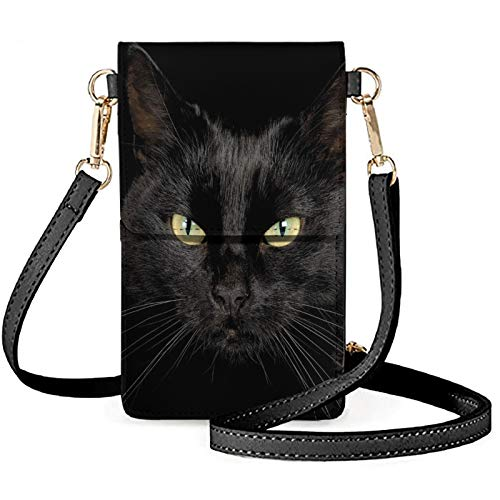 Aulaygo Black Cat Print Lightweight Leather Phone Purse, Small Crossbody Bag Shoulder Handbags Cell Phone Pouch Shoulder Bag with Strap for Work School Shop