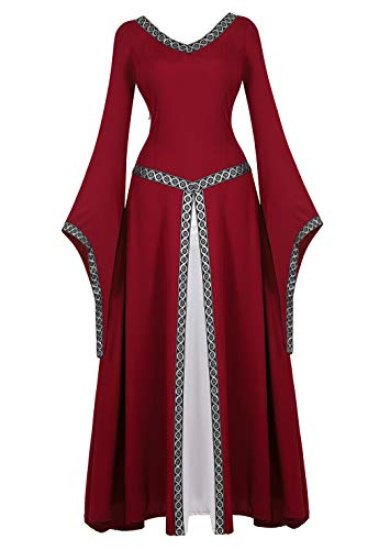frawirshau Renaissance Costume Women Medieval Dress Queen Gown Renaissance Faire Costumes Women WineRed L