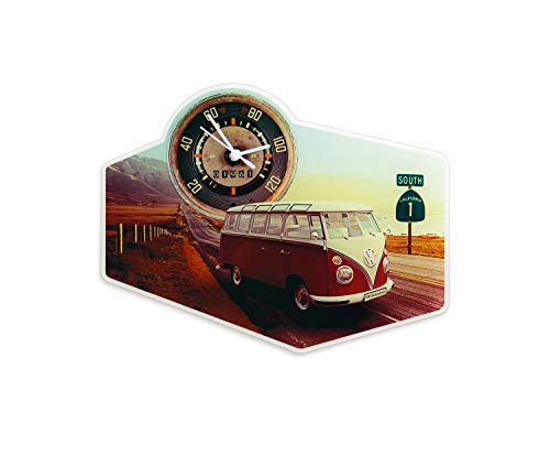 BRISA VW Collection - Retro-Vintage Volkswagen T1 Bulli Bus Nostalgie Wand-Uhr aus Acrylglas (Highway 1)