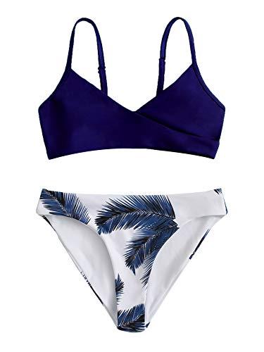 Romwe Girl's 2 Piece Swimsuit Palm Print Beach Sport Bikini Set Bathing Suit Royal Blue and White 160