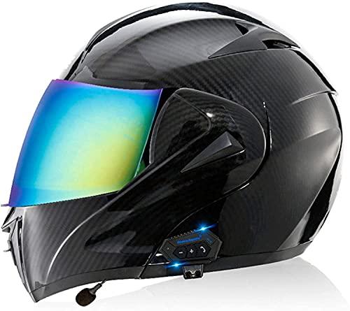 NZGMA Casco abatible para Motocicleta, modulares con Bluetooth, visores Dobles, Cascos integrales, Casco para Motocicleta Aprobado por ECE/ECE, Radio incorporada, intercomunicador Integrado, s
