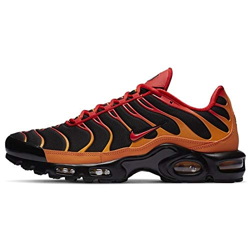 Nike Herren AIR MAX Plus Laufschuh, Black Chile Red Vivid Orange, 38.5 EU