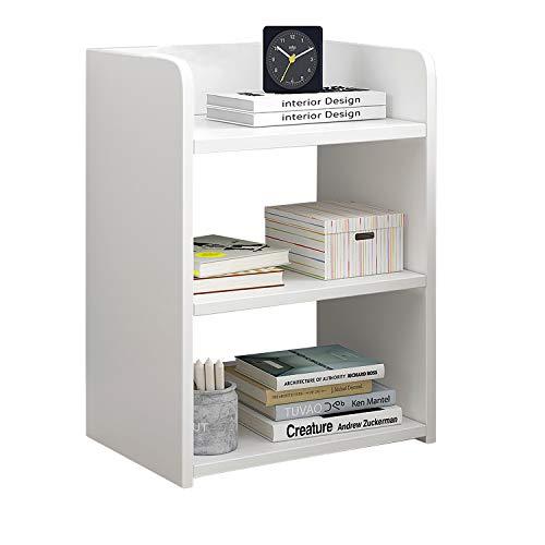 Libreria a vita bassa, libreria bianca in legno, scaffale per ufficio, soggiorno, mobilia bianca, scaffale a 3 strati, organizer per la casa