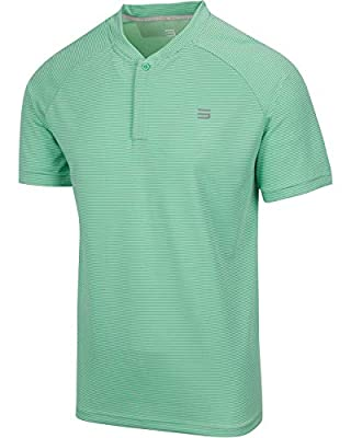 Three Sixty Six Collarless Golf Shirts for Men - Men's Casual Dry Fit Short Sleeve Polo, Lightweight and Breathable Mint