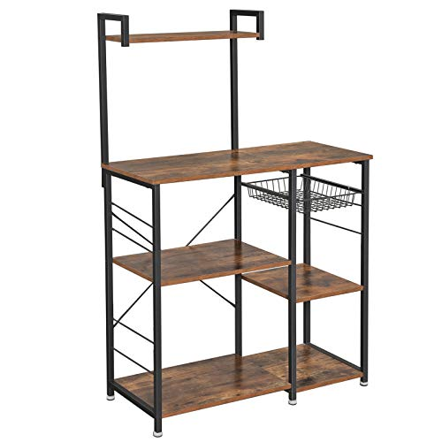 VASAGLE ALINRU Baker's Rack with Shelves, Kitchen Shelf with Wire Basket, 6 S-Hooks, Microwave Oven Stand, Utility Storage for Spices, Pots, and Pans, Rustic Brown UKKS35X