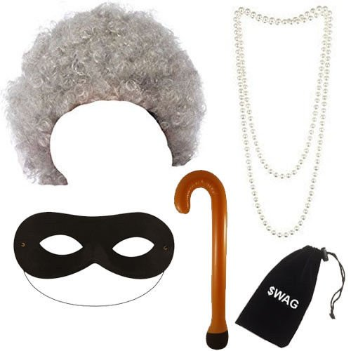 Grey Granny Wig, Pearl Necklace, Walking Stick & Black Eye Mask Fancy Dress Costume Accessory by Blue Planet Online