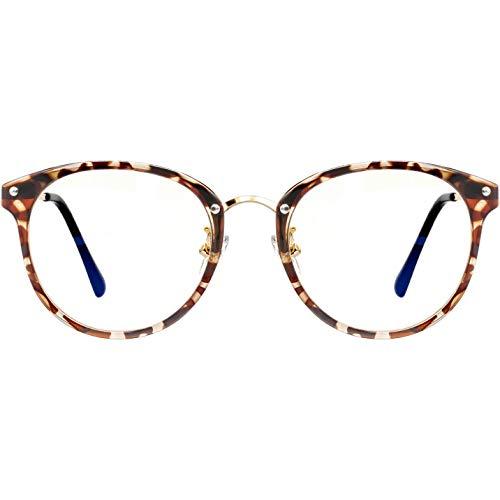 ATTCL Unisex blaulichtfilter brille computerbrille zum Blockieren von UV-Kopfschmerz [Augenbelastung Reduzieren] Gaming Brillen(Herren/Damen) (19702 Brown flower)
