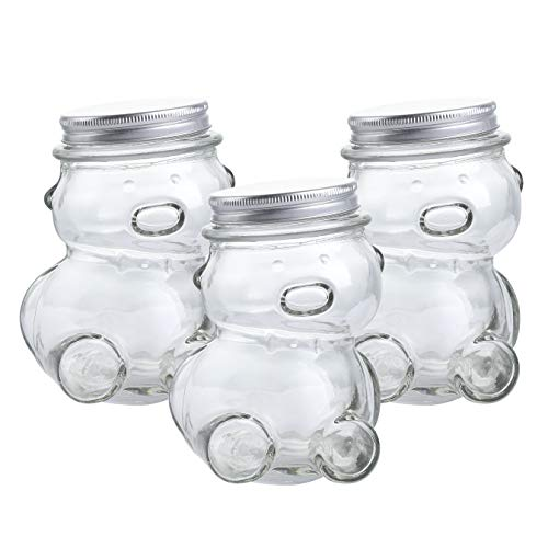 KMwares 10 OZ 3-Pack Decorative Teddy Bear Shaped Clear Glass Jar with lids for Cookie/Candy/Wish Star Storage, DIY Crafts Bottle, Kids Room/Party/Office Decoration