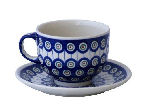 Bunzlauer Keramik Tasse mit Untertasse (Milchkaffeetasse) 0.5 Liter Dekor 8