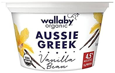 Wallaby Organic Greek Whole Milk Yogurt, Blended Vanilla Bean, 5.3 oz