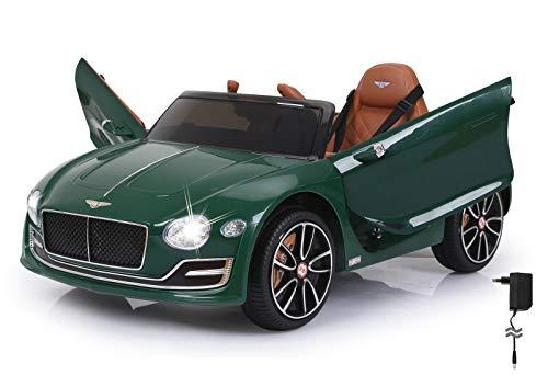 Jamara 460333 - Ride-on Bentley EXP12 grün 12V - 2-Gang, leistungsstarker Antriebsmotor und Akku für lange Fahrzeit, Ultra-Grip Gummiring am Rad, AUX- und USB-Anschluss, LED-Scheinwerfer, Flügeltüren