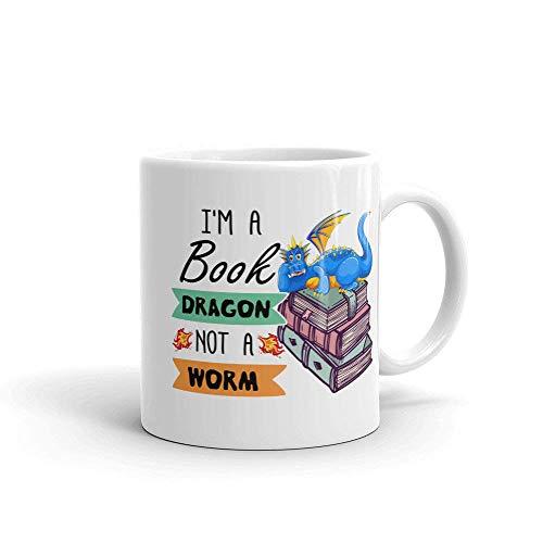 Not Applicable Ich Bin EIN Buch Drache kein Wurm Becher Kaffee Tee Tasse Geschenk für Drachenliebhaber Buchliebhaber Geburtstage Weihnachten Halloween
