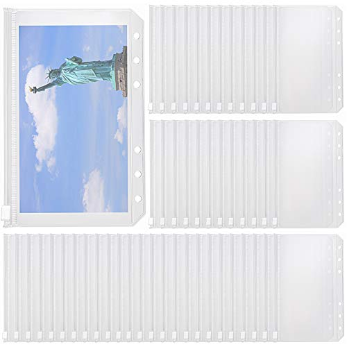 WUWEOT 50 Pack Binder Pockets A6 Size 6 Holes Zipper Binder Pouch Folders, Waterproof Zipper Loose Leaf Bags Clear Plastic Binder Envelopes for Documents Notebooks Cards