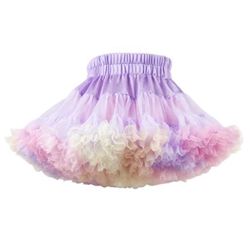 HANBOLI Kids Girls Reversible Tutu Skirt Colorful Mesh Tulle Layered Puffy Petticoat