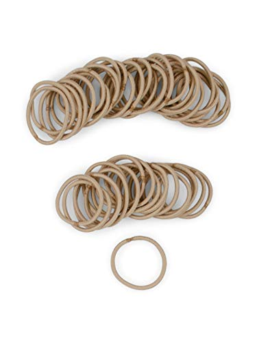Heliums Small Sandy Blonde Hair Elastics, Thin 2mm Mini 1 Inch Sized Hair Ties for Kids, Braids and Fine Hair - 48 Count Ponytail Holders