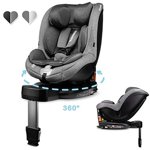 Lionelo Antoon Kindersitz, Autokindersitz i-Size mit ISOFIX und Stützfuß, ab Geburt (0-19 kg) Gruppe: 0+ 1, Liegeposition, TÜV (Grau)
