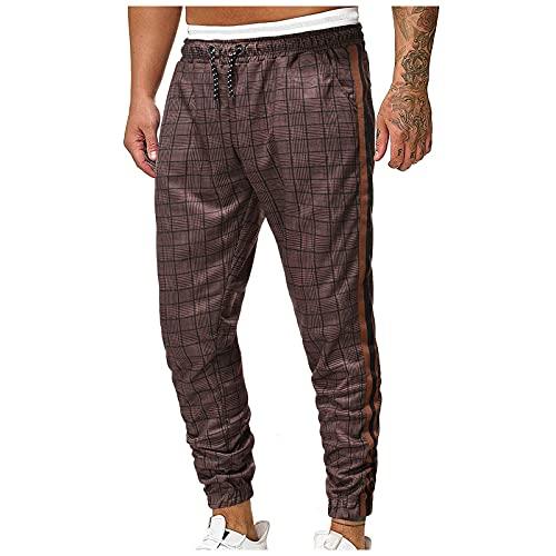 Men's Slim Fit Plaid Striped Printed Stretch Flat-Front Skinny Pants Business Pencil Long Pants