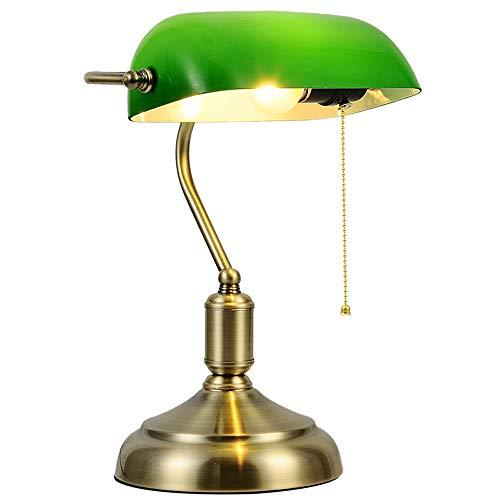 Lámpara de mesa antigua clásica Art Déco, sombra verde claro, pantalla rectangular de acero, base redonda, iluminación interior E27, lámpara de escritorio para salón, dormitorio, color verde