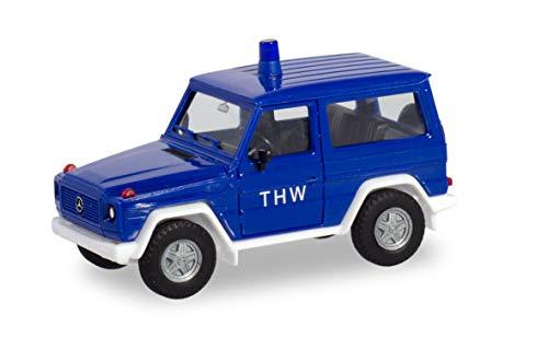 herpa 094825 Miniatur zum Basteln, Sammeln und als Geschenk G-Klasse Mercedes-Benz G-Modell THW, Fahrzeug in Mini, Mehrfarbig
