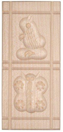 HOFMEISTER® Ausstechform für Plätzchen, Made in Germany, Backform mit 2 Motiven: Eichhörnchen & Schmetterlinge, Keks-Stempel zum Plätzchen backen, handgefertigte Springerle Model