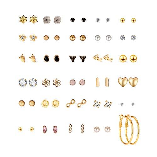 weilifang 30 Par de aretes múltiple Set Pendientes Pendientes determinados Surtidos Crystal Rhinestone Mujeres Pendientes Piercing