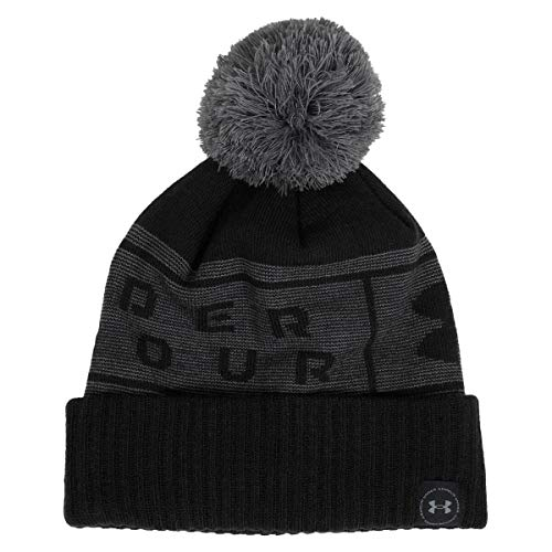 Under Armour Herren Mütze Big Logo Pom Beanie, Black/Pitch Gray/ (001), OSFA, 1356711-001